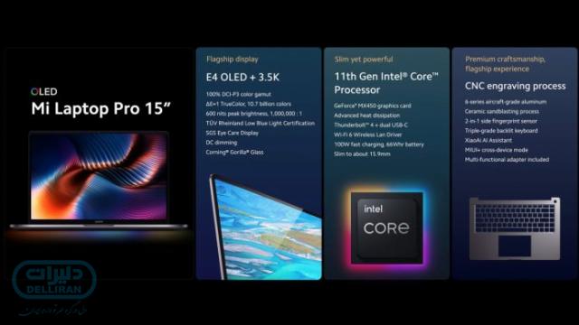 شیائومی از لپ تاپ Mi Laptop Pro 15 رونمایی کرد